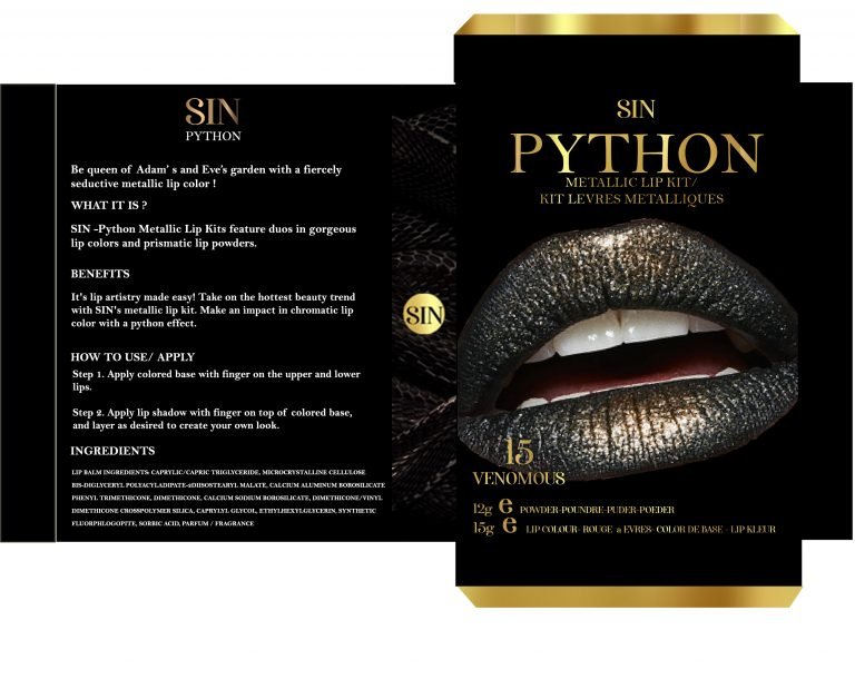 4. DETAILS-I GAVE THE SIDE OF THE PACKAGING THE ELEMENT OF SNAKE SKIN WHICH IS TH MAIN DESIGN ATTRIBUTE FOR THIS COLLECTION AND DESIGNED THE BACK LAYOUT. I ADDED THE LOGO ON THE SIDE AS IT SEEMS LIKE A REGULAR DESIGN ELEMENT USED IN THE MAKE-UP INDUSTRY