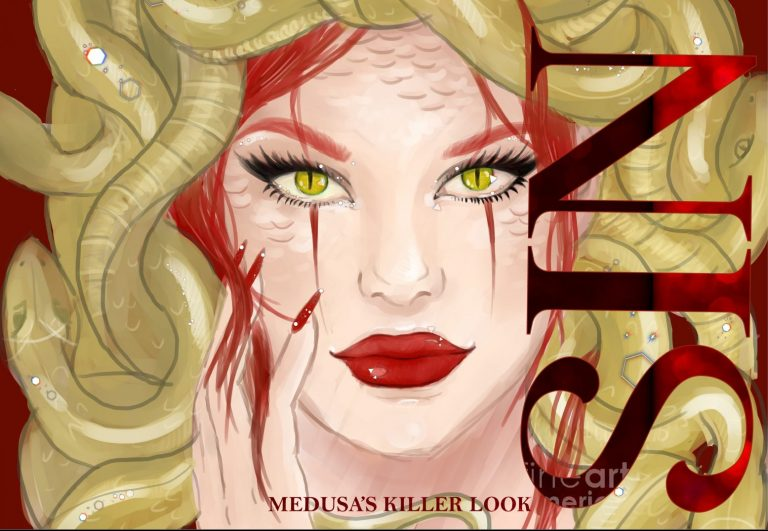 My first try of creating a make-up palette integrating my medusa Illustration but I just could not find a way to make it look like it has balance in its layout without putting the letters in a right bigger size )for titles)on the eyes or lips which I did not want covered.