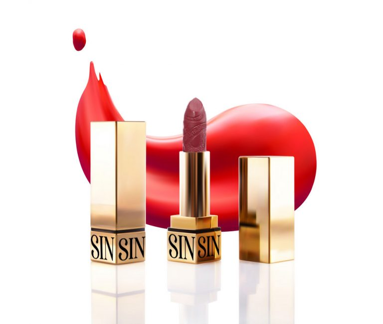 Realistic lipstick cosmetic makeup mockup set. Vector 3d pink red golden color pomade tube and lipstick smudge smear. Beauty fashion women gold accessory. Sexy elegant glamour face makeup cosmetics